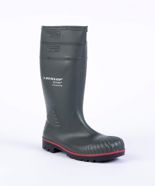 Dunlop Mens Acifort Heavy Duty Green/red Wellington Boots